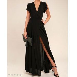 Black Maxi Wrap Dress